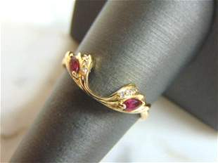 Womens Vintage 14K Yellow Gold Garnet & Diamond Ring