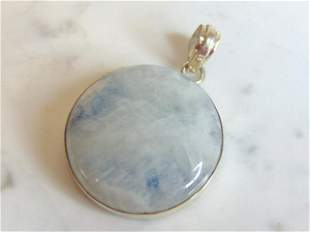 Womens Vintage Estate Sterling Silver Quartz Pendant
