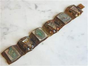 Womens Vintage Estate Sterling Silver Abalone Bracelet