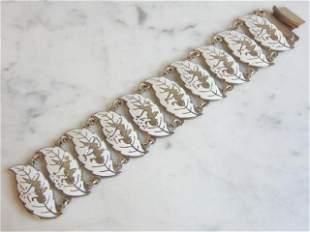 Heavy Vintage Estate .925 Sterling Silver Siam Bracelet