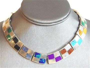 Womens Vintage Sterling Silver Multi Stone Necklace
