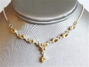 Womens Vintage Estate Sterling Silver Beryl Necklace