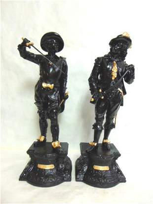 ANTIQUE METAL STATUES OF DON JUAN DON CAESAR