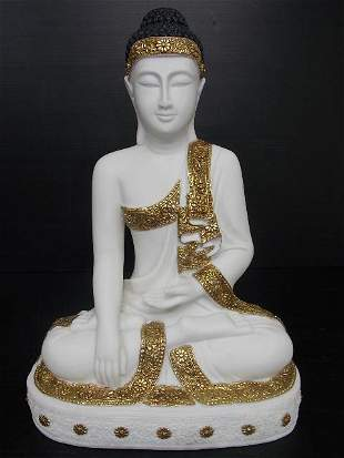 STATUE OF SITTING BUDDHA W/ MARBLE FINISH GARDEN ART