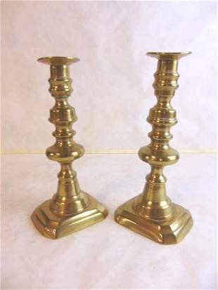 PR ANTIQUE BRASS PUSH UP CANDLESTICKS