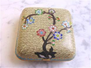 Vintage Chinese Floral Cloisonne Compact w/ Gold