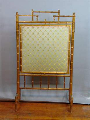 ANTIQUE FRENCH BAMBOO FIREPLACE SCREEN