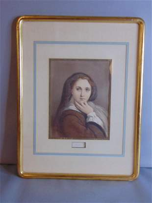 ANTIQUE HAND PAINTED ENGRAVING OF WOMAN ANDREE