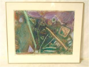 Vintage Modern Abstract Pastel Drawing by S. Keyes