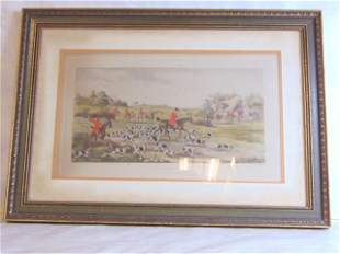 ANTIQUE ENGLISH FOX HUNT ENGRAVING PRINT LITHO