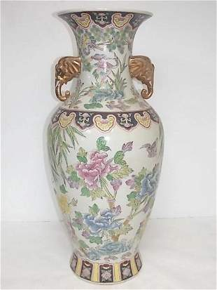 VINTAGE HAND PAINTED CHINESE PORCELAIN FLOOR VASE