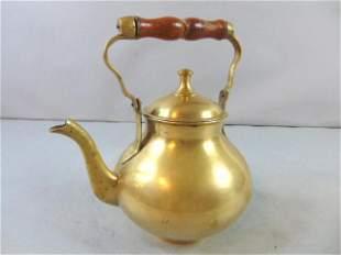 Vintage Antique Brass Teapot w/ Wooden Handle