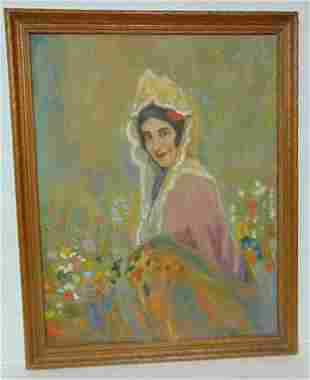 VINTAGE ANTIQUE LADY PORTRAIT PAINTING BY C. DUVALL