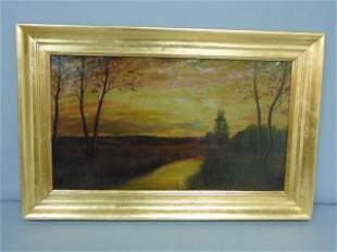 ANTIQUE LANDSCAPE OIL ON CANVAS PAINTING B. CRANE