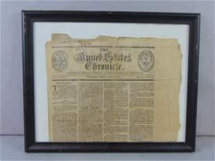 ANTIQUE 18TH C. PROVIDENCE RHODE ISLAND NEWSPAPER