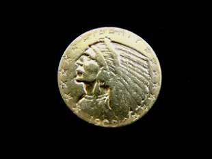 Antique Estate Find 1909 U.S. $5 Gold Indian Head Coin