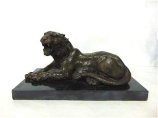 DECORATIVE BRONZE TIGER STATUE W/ MARBLE BASE
