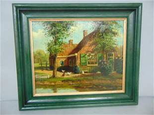 ANTIQUE OIL PAINTING ON CANVAS OF A COUNTRY FARM