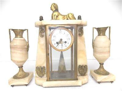 Antique Japy Freres Sphinx Mantel Clock w/ Garnitures