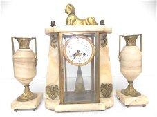 Antique Japy Freres Sphinx Mantel Clock w/ Garnitures