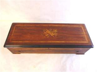 Antique Rosewood ? Marquetry Swiss Music Box