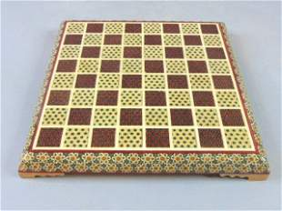 Full Set of Chess W/ Khatam Marquetry Inlay Board