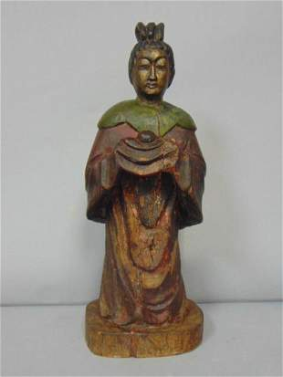 ANTIQUE CHINESE POLYCHROME WOODEN STATUE OF KWAN YIN