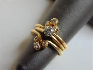 Womens Vintage Estate 14k 2 Piece Gold Diamond Ring