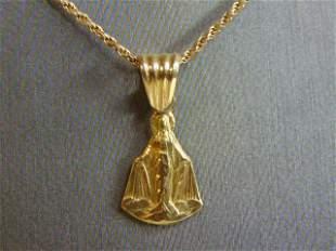Vintage Estate14K Gold Necklace W/ Religious Pendant