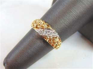 Vintage Estate 14K Gold Nugget Ring w/ Diamonds, 3.4g