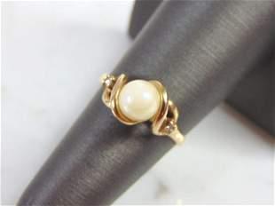 Women's Vintage Estate 14K Gold Ring w/ Pearl & Diamond