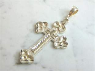 Vintage Estate Sterling Silver Religious Cross Pendant