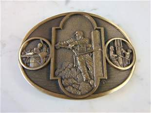 Limited Edition Line Worker Solid Brass Belt Buckle