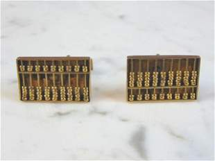 Mens Vintage Estate 14k Yellow Gold Abacus Cufflinks
