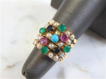 Womens Vintage Estate 14k Yellow Gold Multi-Stone Ring
