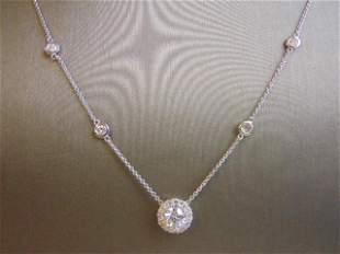 Womens Vintage 14k White Gold Diamond Necklace