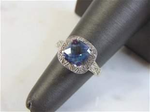 Womens Vintage 14k White Gold & Diamond Tanzanite Ring