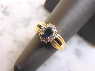 Womens 14k Yellow Gold Ring w/ Sapphire & Diamonds