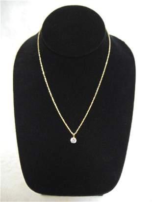 Womens Vintage Estate 14K Gold Necklace w/ CZ Pendant