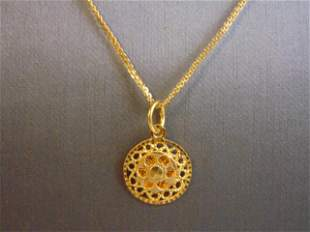 Womens Vintage 22K Yellow Gold Necklace w/ Pendant
