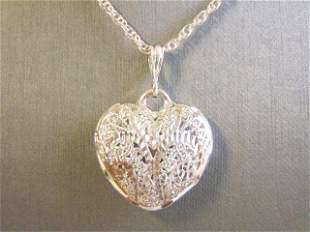 Women's Sterling Silver Necklace W/ Heart Pendant