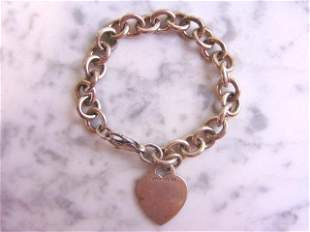 Womens Sterling Silver Tiffany & Co Heart Bracelet