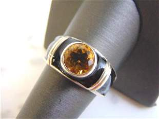 Womens Sterling Silver Ring w/ Citrine Colored Stone