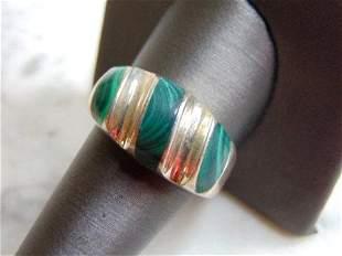 Womens Vintage Estate Sterling Silver Malachite Ring