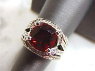 Womens Vintage Estate Sterling Silver Garnet Stone Ring
