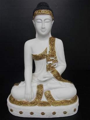 STATUE OF SITTING BUDDHA W/ MARBLE FINISH GARDEN ART