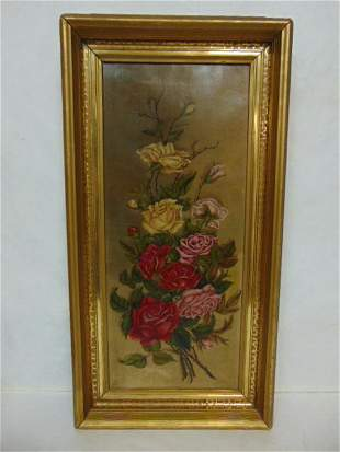 ANTIQUE OIL ON CANVAS ROSE PAINTING W/ FRAME