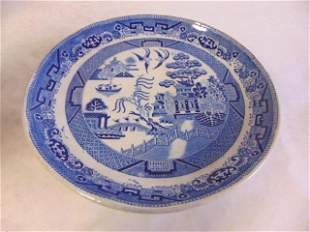 Antique Blue Willow Transferware Cake Stand Compote