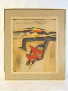 Vintage Modern Abstract Serigraph Etching Signed