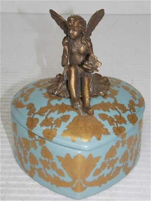 HEART SHAPED VICTORIAN VANITY BOX W/ BRONZE FAIRY